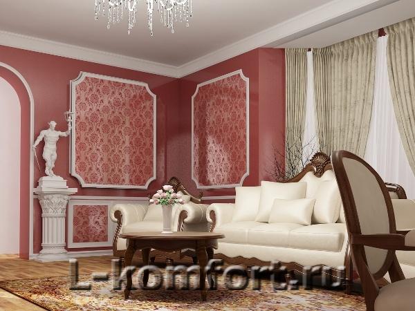 Дизайн интерьера коттеджа в классическом стиле.